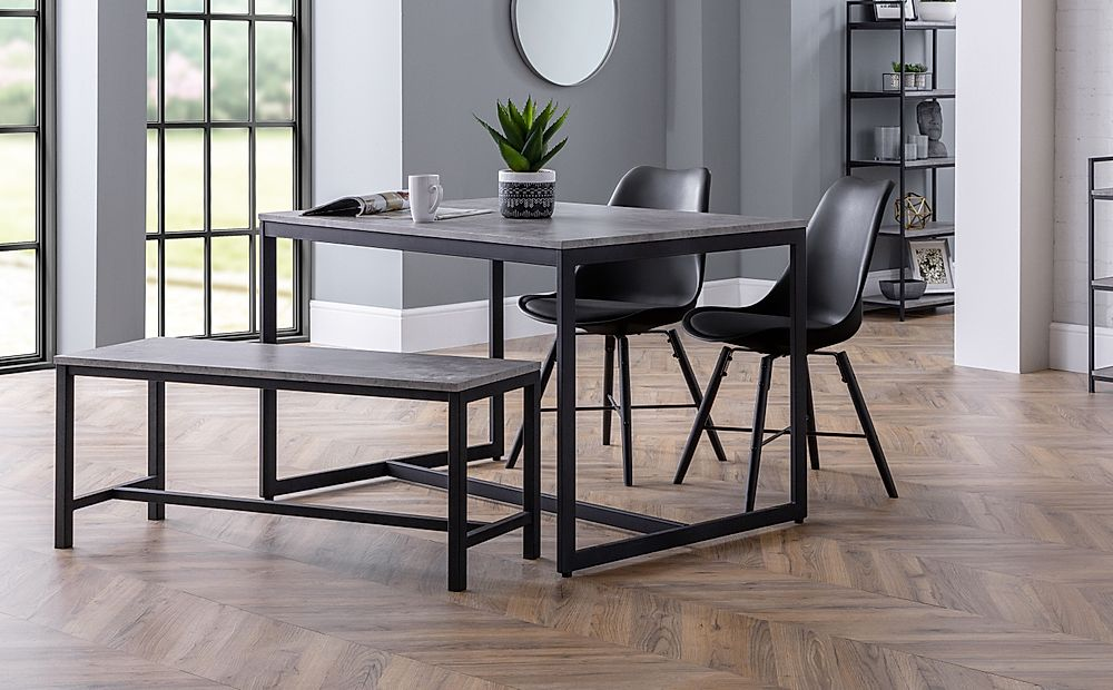 Thorpe Metal and Concrete Industrial Dining Table and Bench with 2 Aston Black Leather Chairs