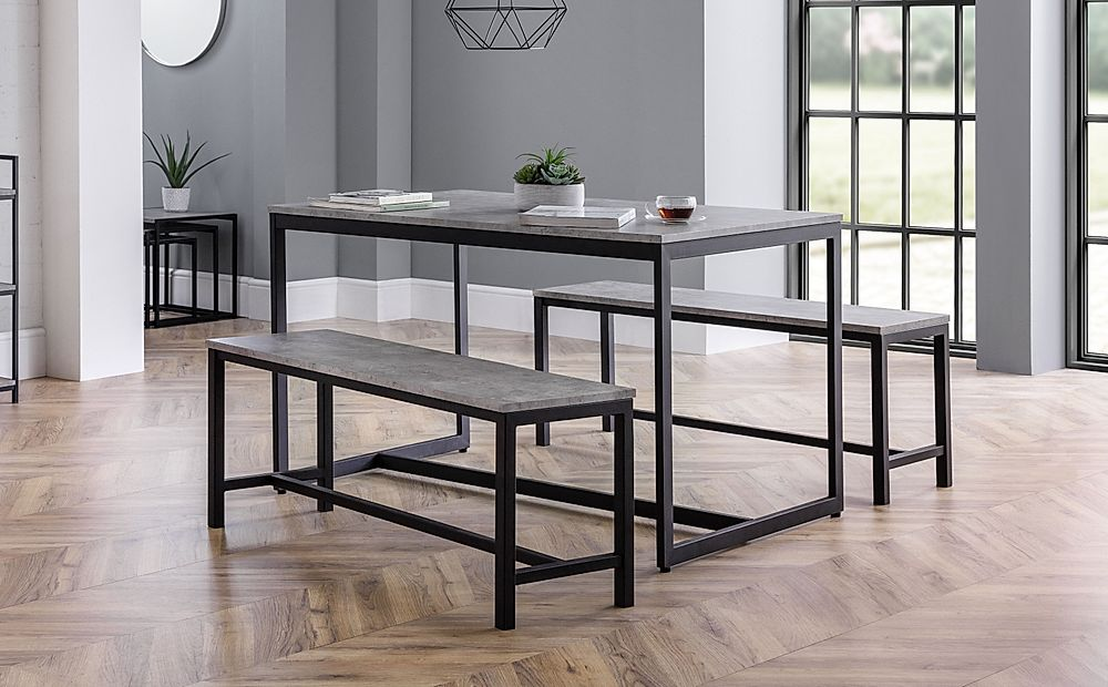 Thorpe Metal and Concrete Industrial Dining Table and 2 Benches