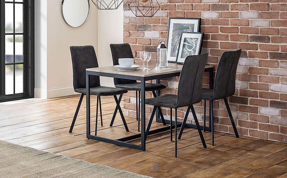 Newton Metal and Oak Industrial Dining Table with 4 Hayes Charcoal Grey Suede Chairs