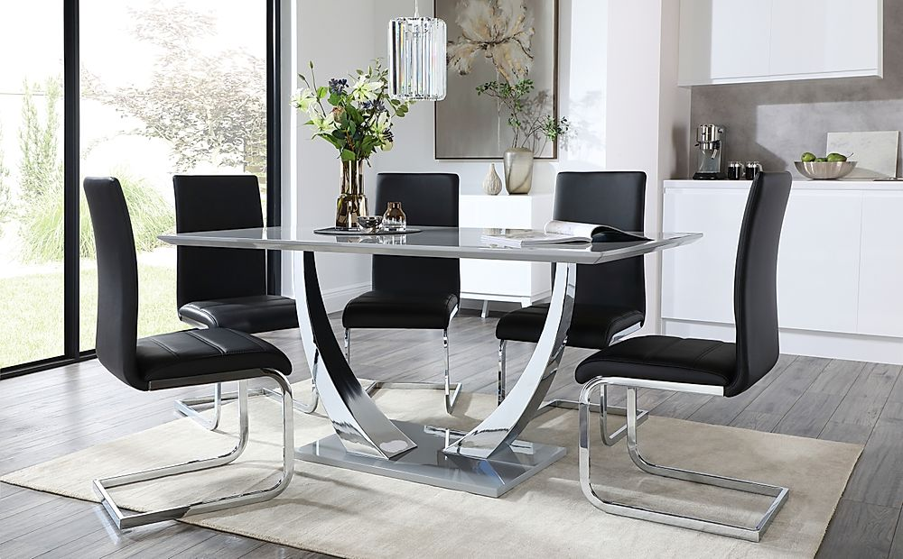 Peake Grey High Gloss and Chrome Dining Table with 6 Perth Black Leather Chairs