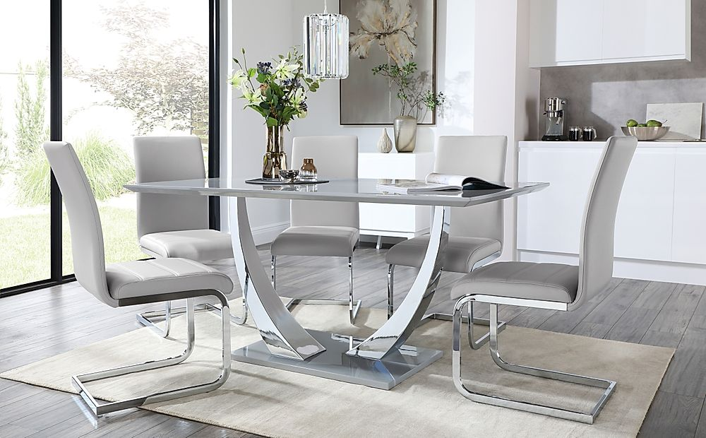 Peake Grey and Chrome Dining Table with 4 Perth Light Grey Leather Chairs