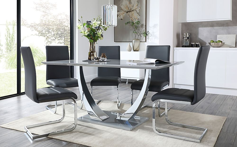 Peake Grey and Chrome Dining Table with 6 Perth Grey Leather Chairs