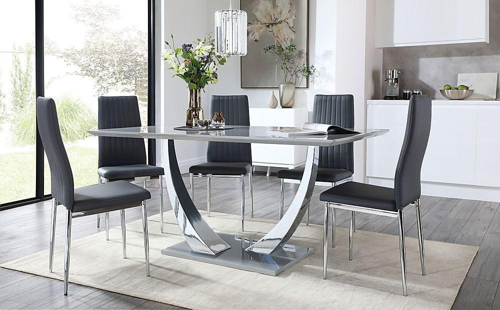 Peake Grey and Chrome Dining Table with 6 Leon Grey Leather Chairs Grey