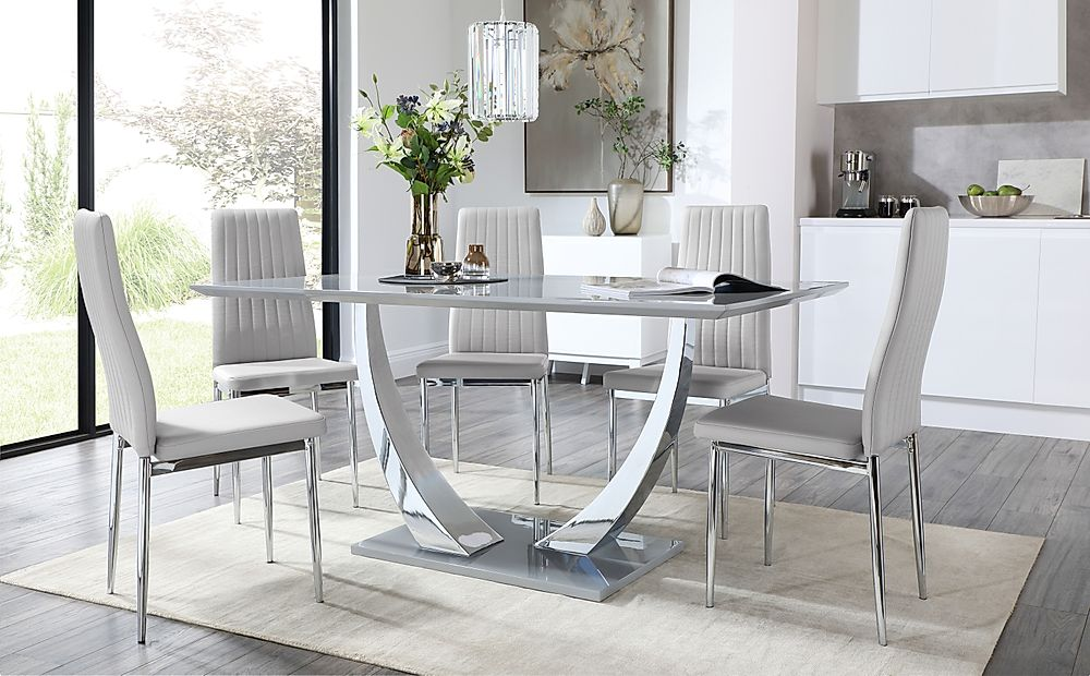 Peake Grey High Gloss and Chrome Dining Table with 4 Leon Light Grey Leather Chairs