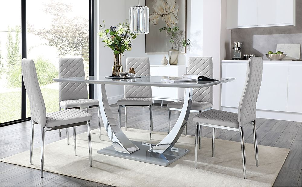 Peake Grey and Chrome Dining Table with 6 Renzo Light Grey Leather Chairs
