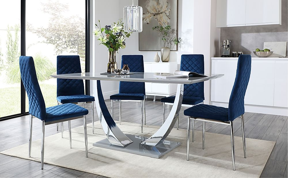 Peake Grey and Chrome Dining Table with 6 Renzo Blue Velvet Chairs