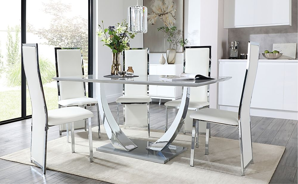 Peake Grey and Chrome Dining Table with 4 Celeste White Leather and Chrome Chairs