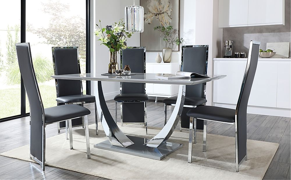 Peake Grey High Gloss and Chrome Dining Table with 6 Celeste Grey Leather and Chrome Chairs