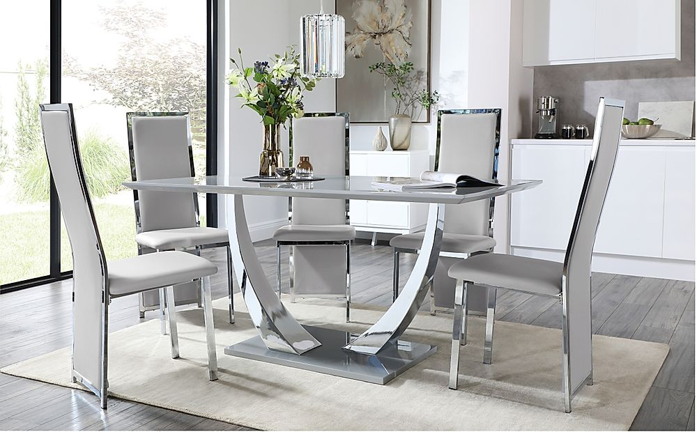 Peake Grey and Chrome Dining Table with 6 Celeste Light Grey Leather Chairs