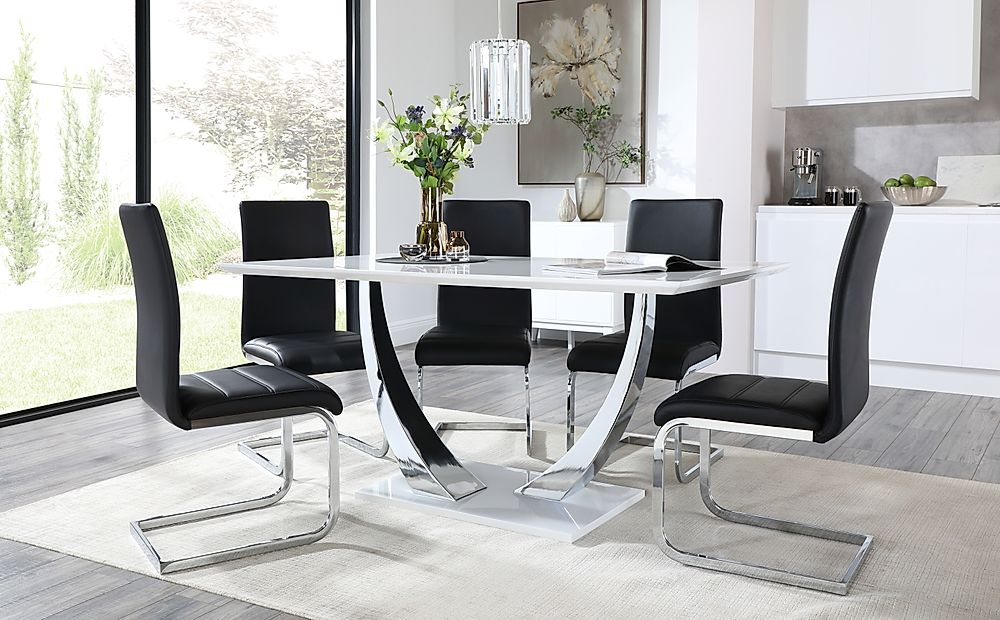 Peake White and Chrome Dining Table with 6 Perth Black Leather Chairs