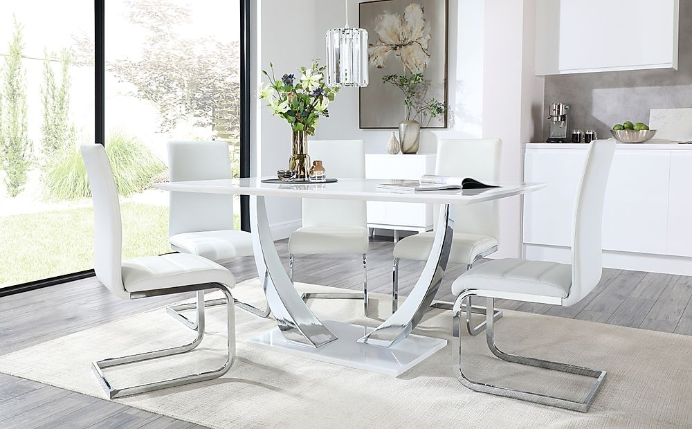 Peake White High Gloss and Chrome Dining Table with 6 Perth White Leather Chairs