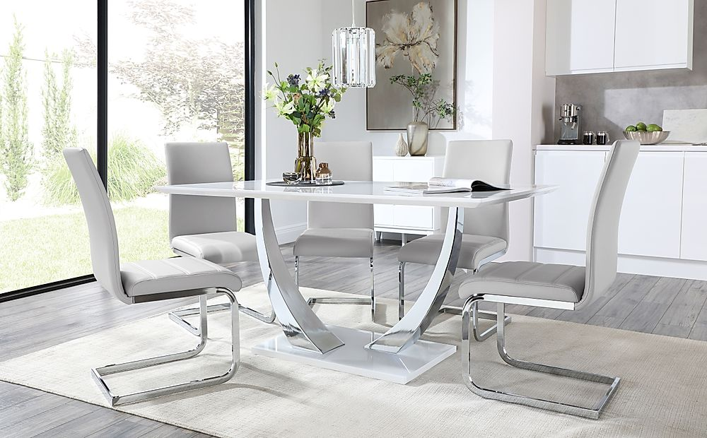 Peake White High Gloss and Chrome Dining Table with 6 Perth Light Grey Leather Chairs