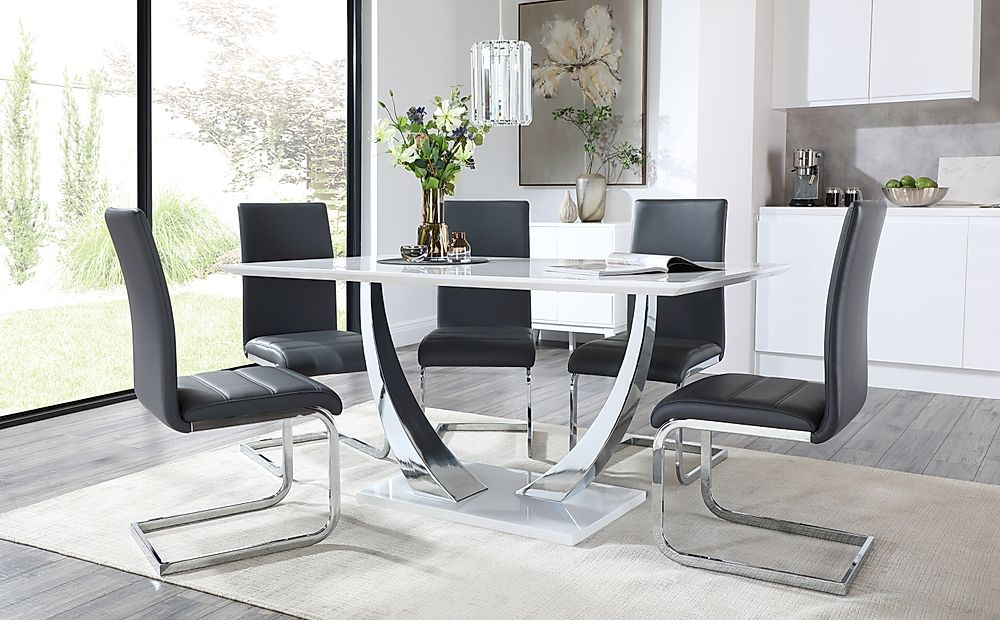 Peake White High Gloss and Chrome Dining Table with 4 Perth Grey Leather Chairs
