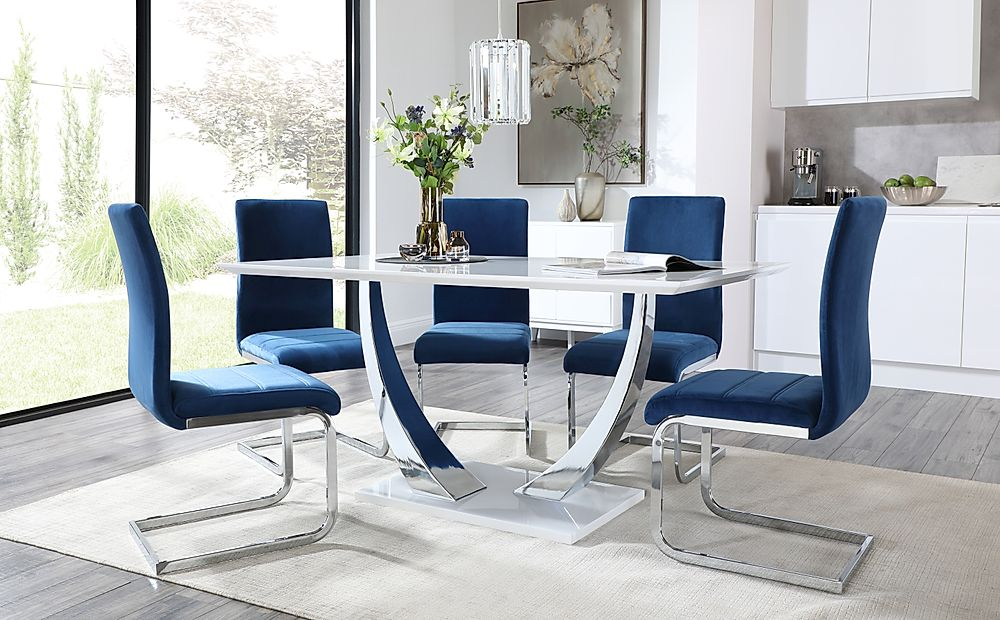 Peake White High Gloss and Chrome Dining Table with 4 Perth Blue Velvet Chairs