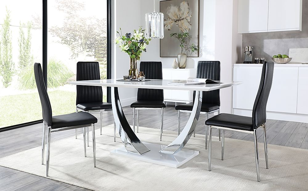 Peake White High Gloss and Chrome Dining Table with 6 Leon Black Leather Chairs