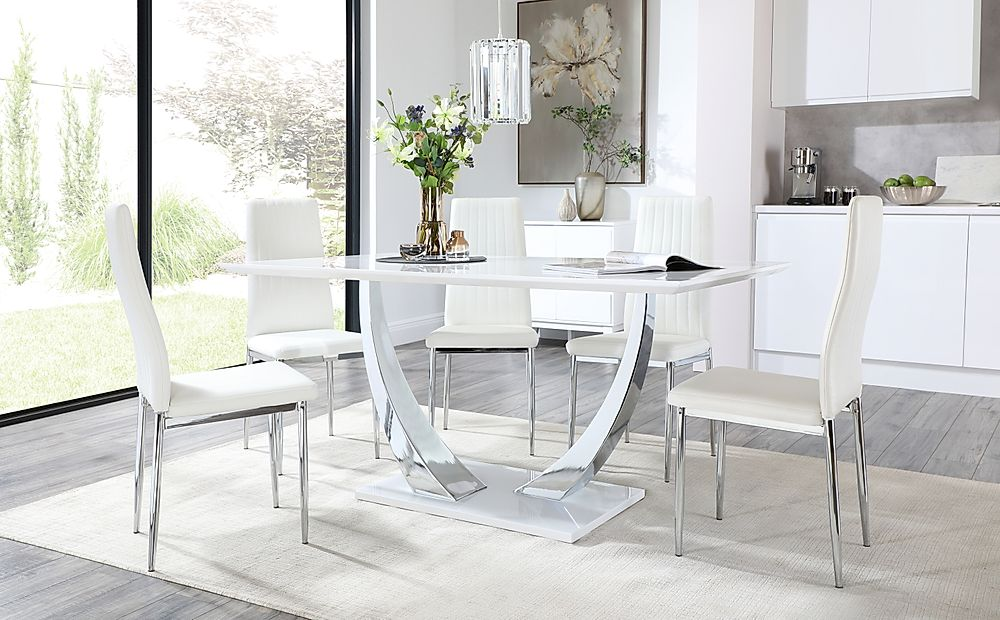 Peake White and Chrome Dining Table with 6 Leon White Leather Chairs