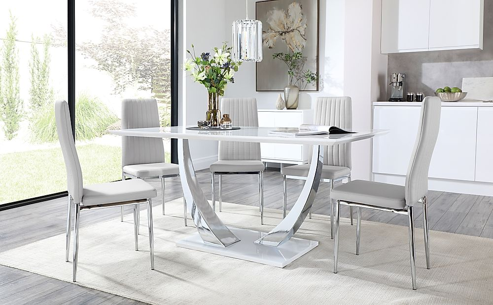 Peake White High Gloss and Chrome Dining Table with 6 Leon Light Grey Leather Chairs
