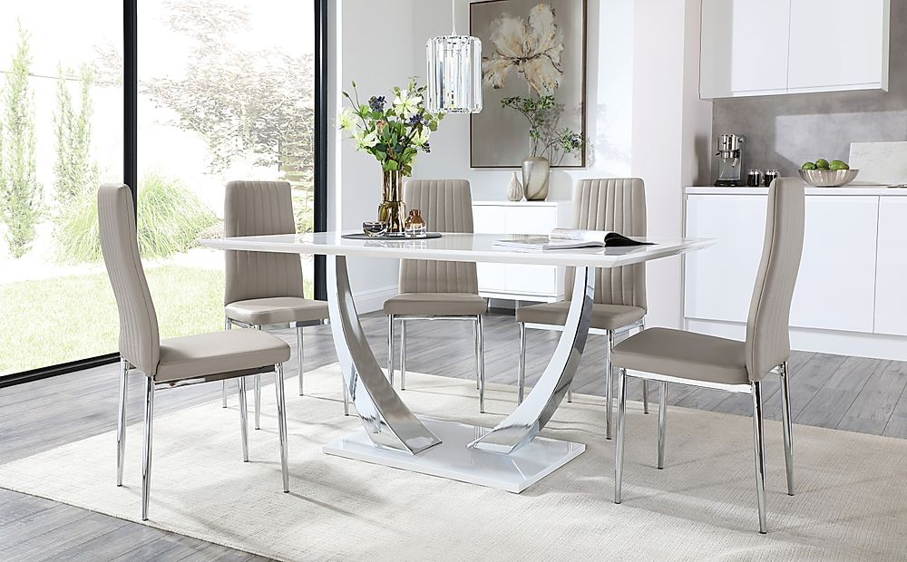 Peake White and Chrome Dining Table with 6 Leon Taupe Leather Chairs