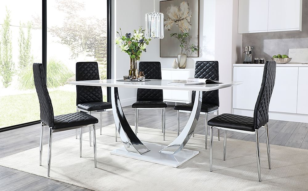 Peake White and Chrome Dining Table with 6 Renzo Black Leather Chairs