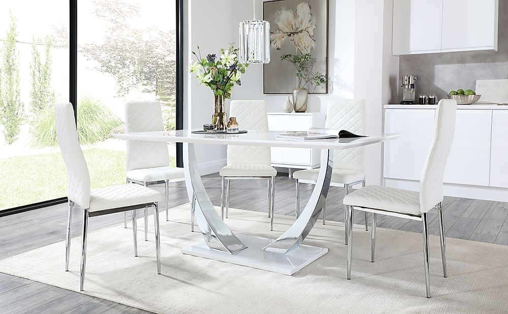 Peake White High Gloss and Chrome Dining Table with 4 Renzo White Leather Chairs