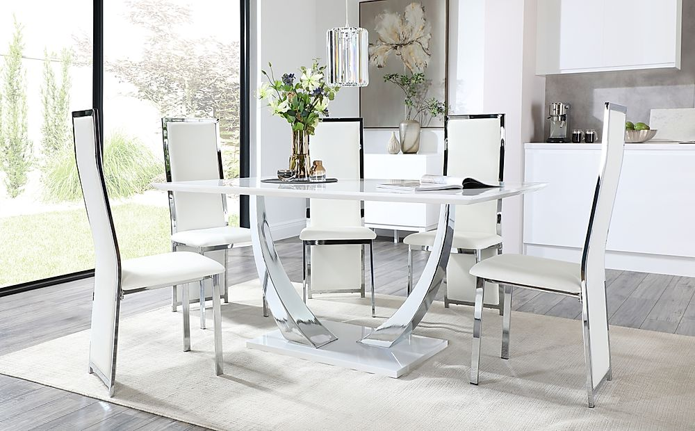 Peake White and Chrome Dining Table with 6 Celeste White Leather and Chrome Chairs