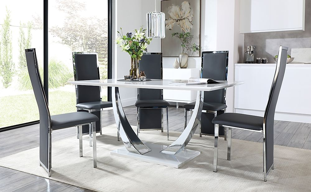 Peake White and Chrome Dining Table with 6 Celeste Grey Leather and Chrome Chairs