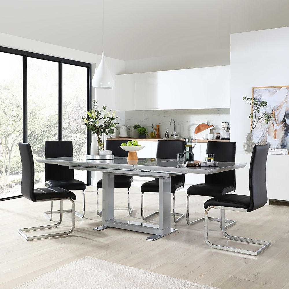 Tokyo Grey High Gloss Extending Dining Table with 6 Perth Black Leather Chairs