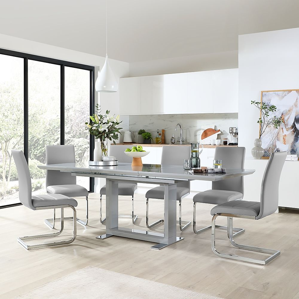 Tokyo Grey High Gloss Extending Dining Table with 4 Perth Light Grey Leather Chairs