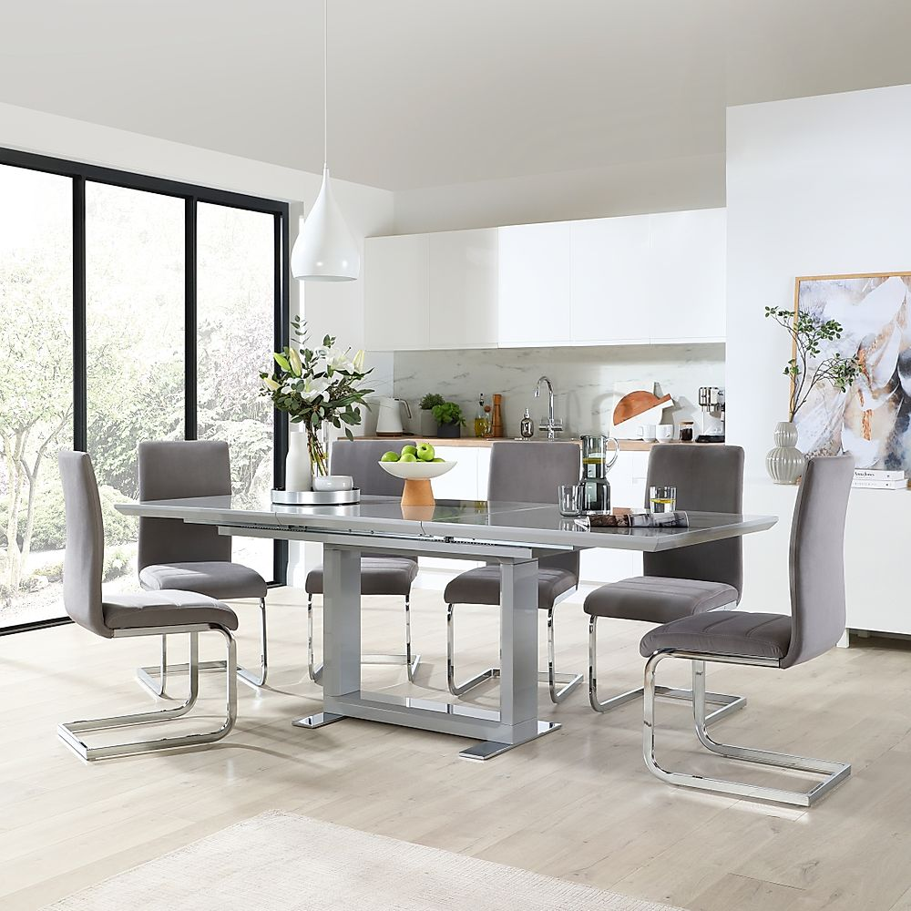 Tokyo Grey High Gloss Extending Dining Table with 6 Perth Grey Velvet Chairs