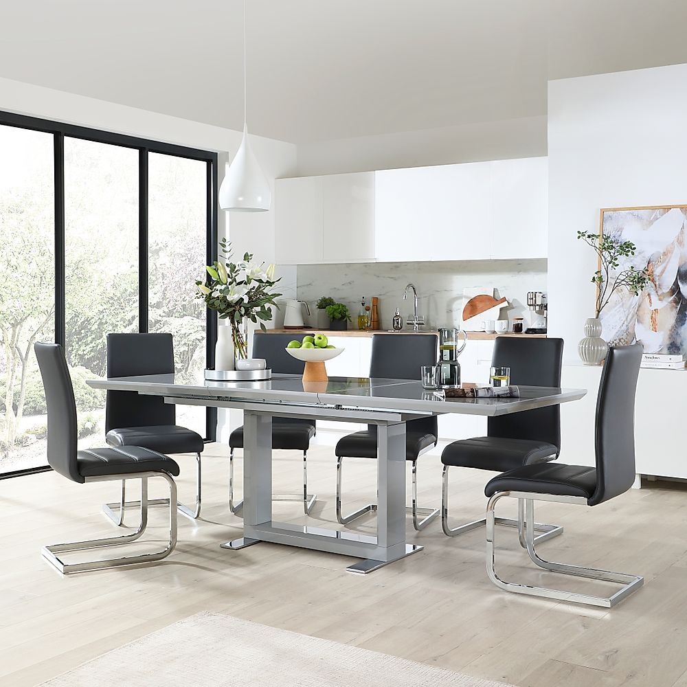 Tokyo Grey High Gloss Extending Dining Table with 6 Perth Grey Leather Chairs