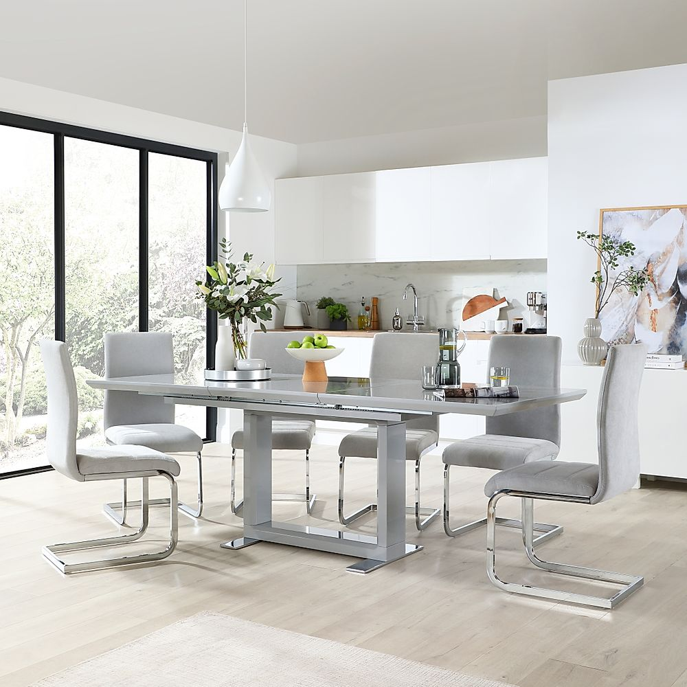 Tokyo Grey High Gloss Extending Dining Table with 8 Perth Dove Grey Fabric Chairs