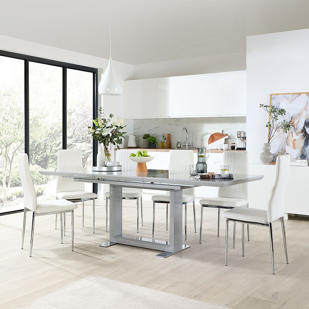 Tokyo Grey High Gloss Extending Dining Table with 6 Leon White Leather Chairs