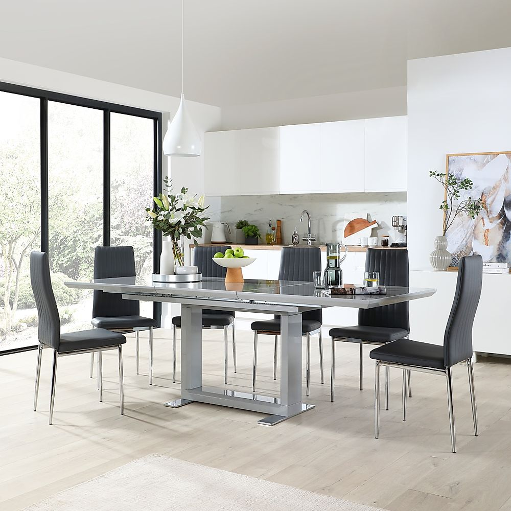 Tokyo Grey High Gloss Extending Dining Table with 8 Leon Grey Leather Chairs