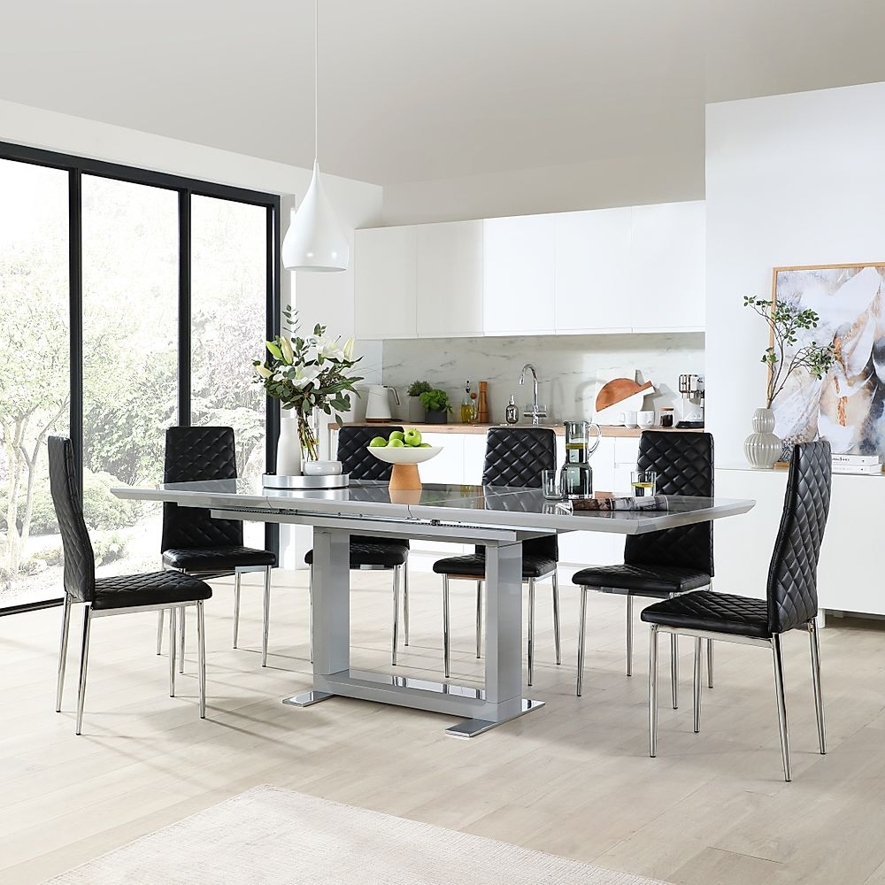 Tokyo Grey High Gloss Extending Dining Table with 6 Renzo Black Leather Chairs
