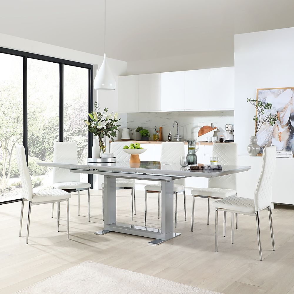 Tokyo Grey High Gloss Extending Dining Table with 6 Renzo White Leather Chairs