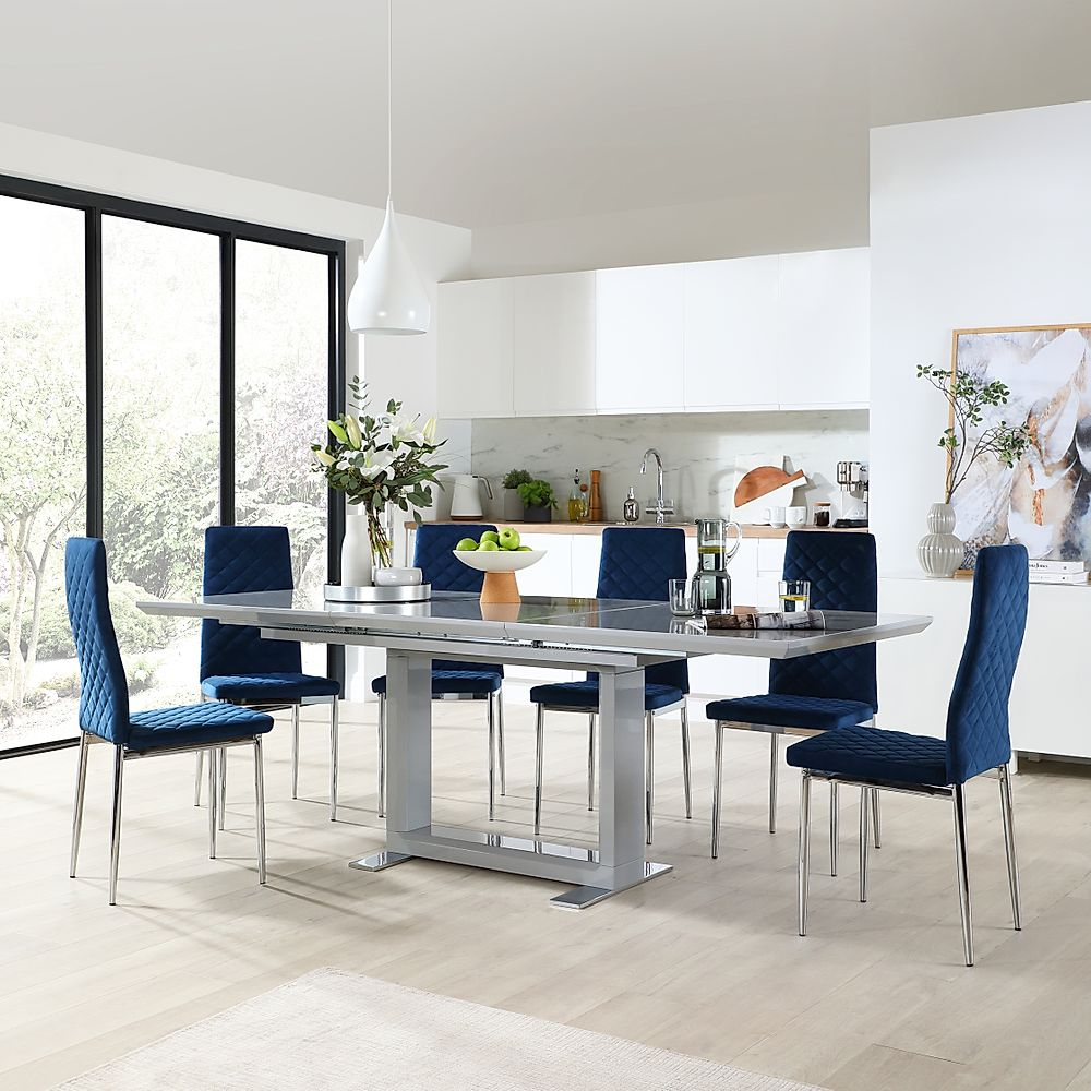 Tokyo Grey High Gloss Extending Dining Table with 6 Renzo Blue Velvet Dining Chair