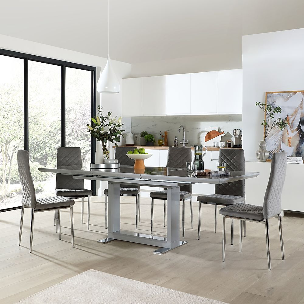 Tokyo Grey High Gloss Extending Dining Table with 8 Renzo Grey Velvet Dining Chair