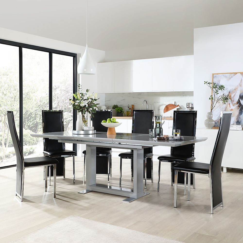 Tokyo Grey High Gloss Extending Dining Table with 4 Celeste Black Leather Chairs
