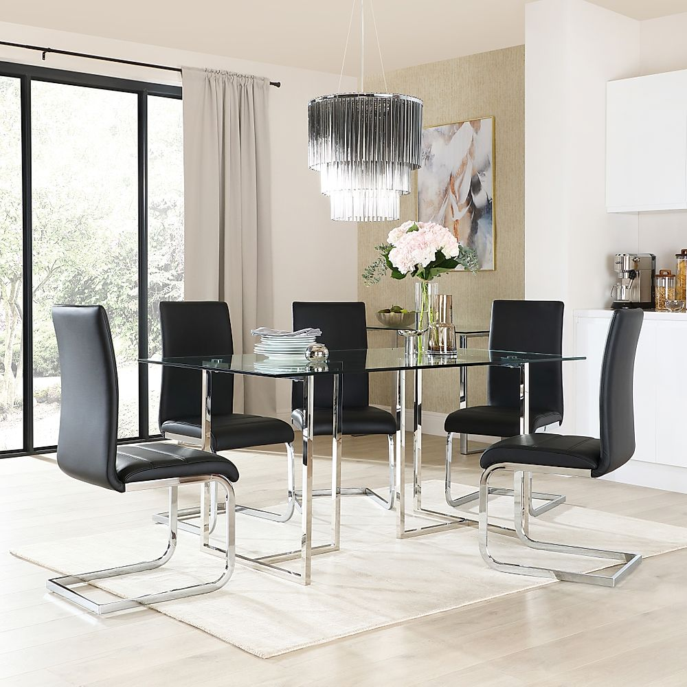 Lisbon Chrome and Glass Dining Table with 6 Perth Black Leather Chairs