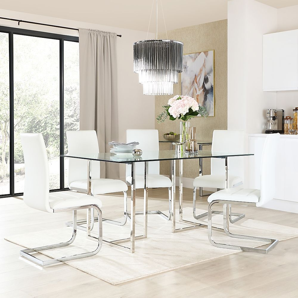 Lisbon Chrome and Glass Dining Table with 6 Perth White Leather Chairs