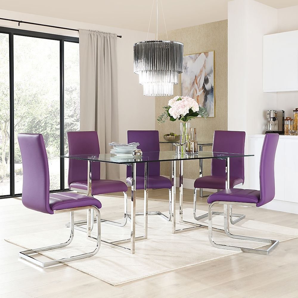 Lisbon Chrome and Glass Dining Table With 4 Perth Purple Leather Chairs