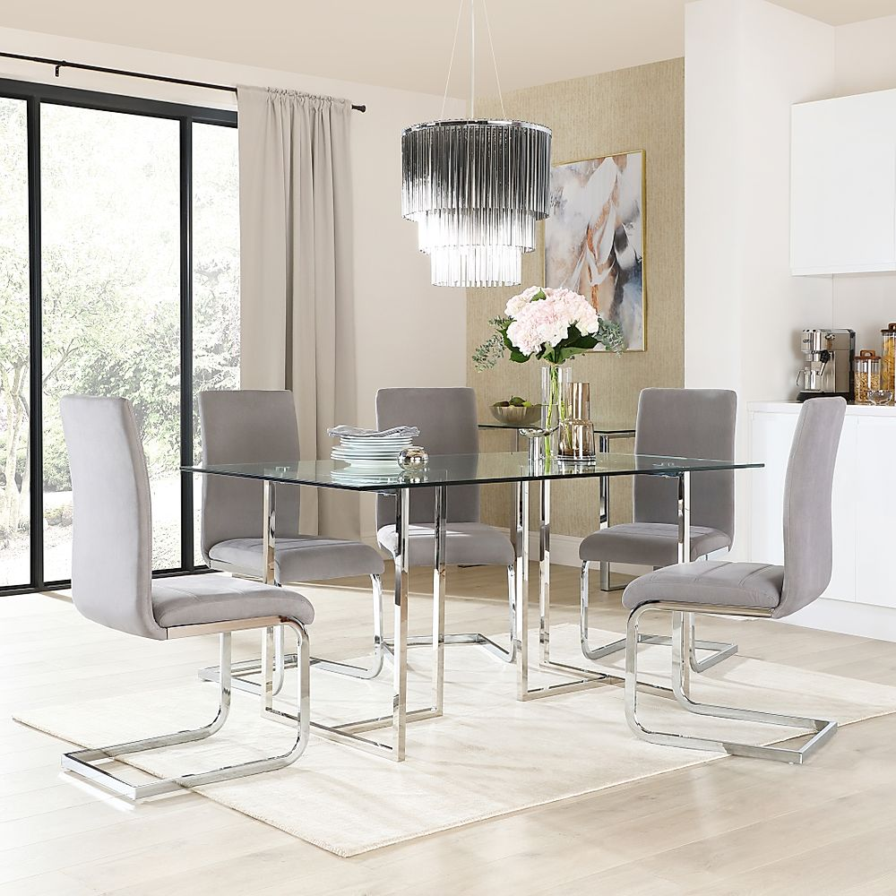 Lisbon Chrome and Glass Dining Table with 6 Perth Grey Velvet Chairs