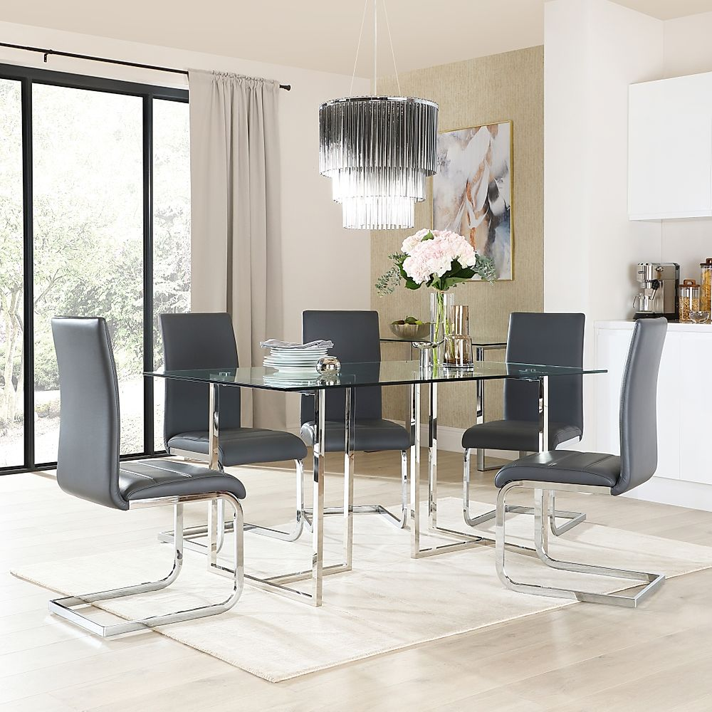 Lisbon Chrome and Glass Dining Table with 6 Perth Grey Leather Chairs