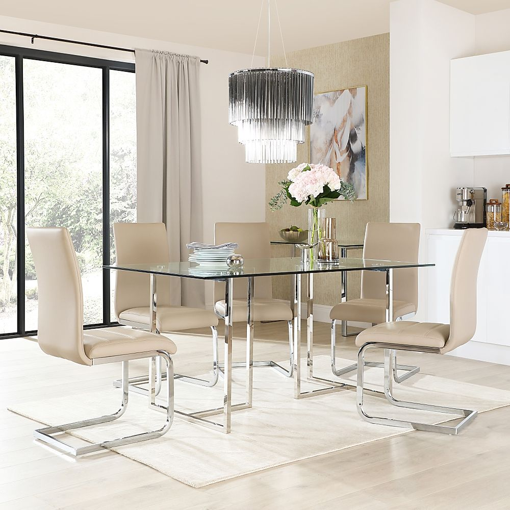 Lisbon Chrome and Glass Dining Table with 6 Perth Taupe Leather Chairs