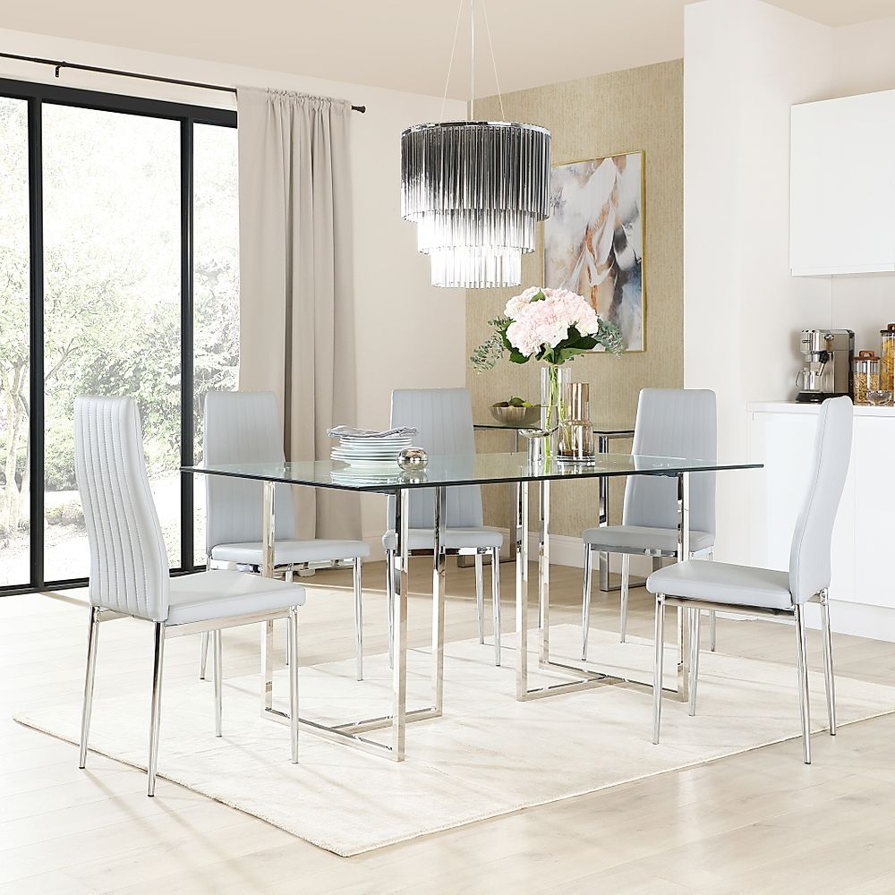 Lisbon Chrome and Glass Dining Table with 4 Leon Light Grey Leather Chairs