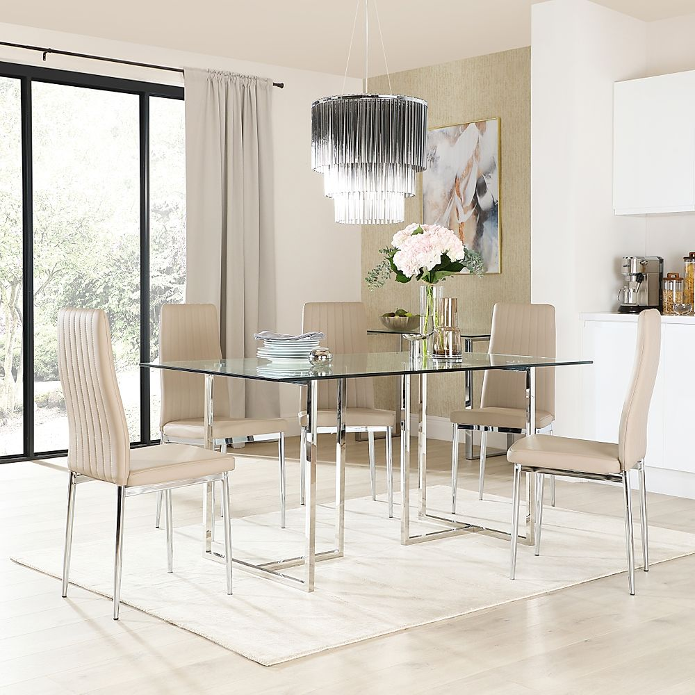 Lisbon Chrome and Glass Dining Table with 6 Leon Taupe Leather Chairs
