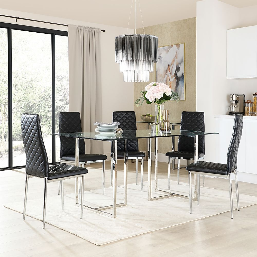 Lisbon Chrome and Glass Dining Table with 6 Renzo Black Leather Chairs