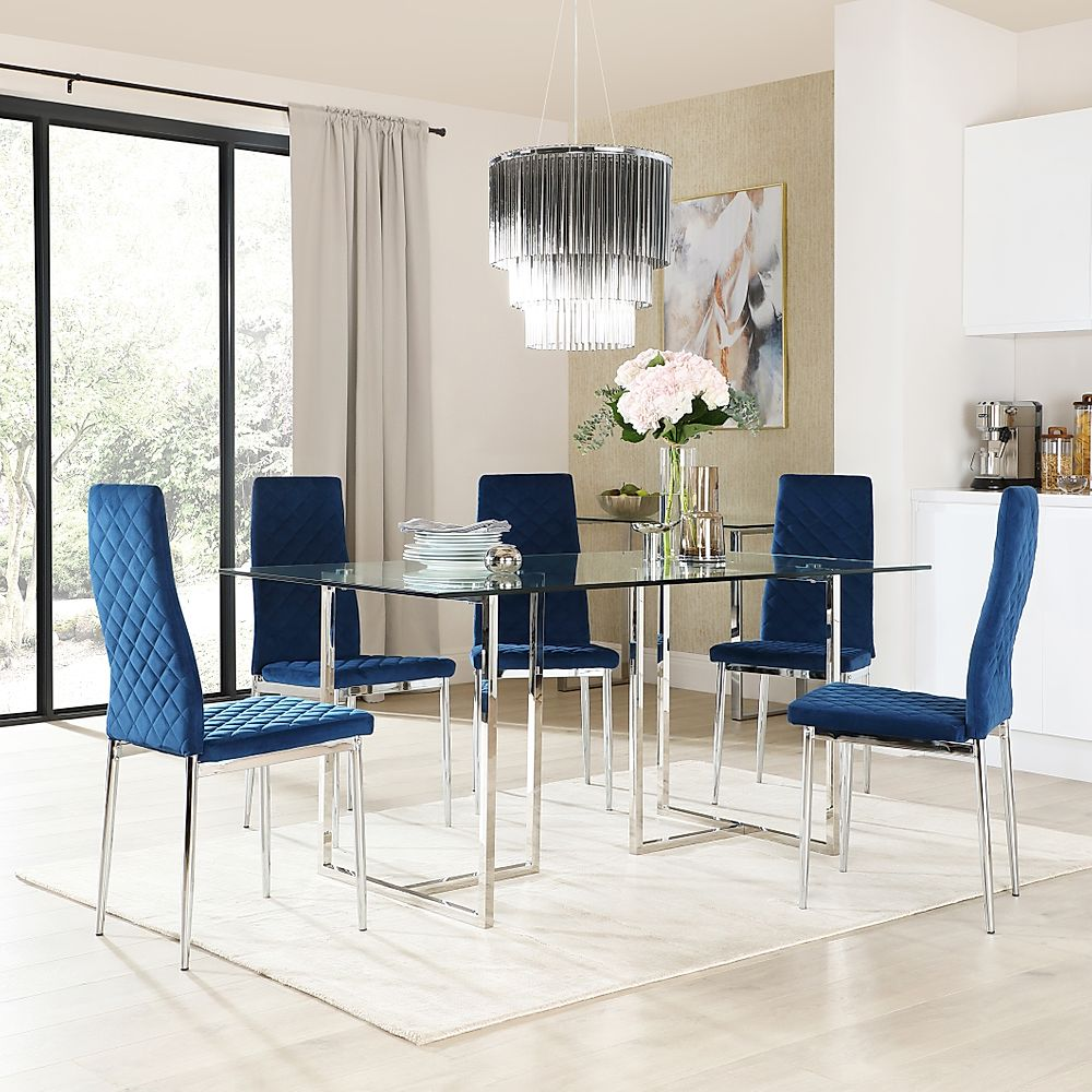 Lisbon Chrome and Glass Dining Table with 6 Renzo Blue Velvet Chairs