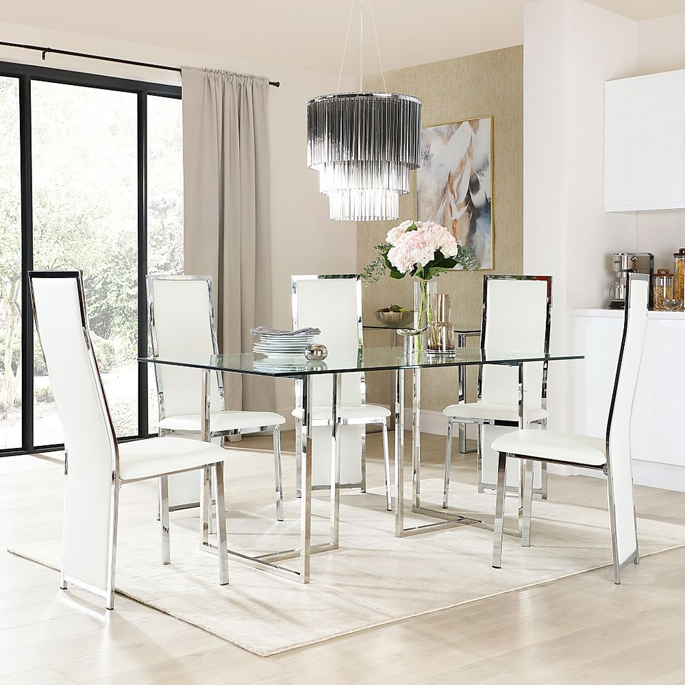 Lisbon Chrome and Glass Dining Table with 6 Celeste White Leather Chairs