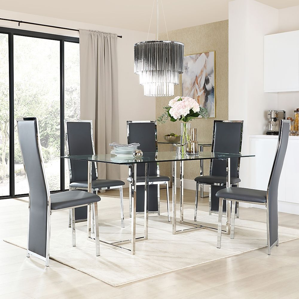 Lisbon Chrome and Glass Dining Table with 6 Celeste Grey Leather Chairs